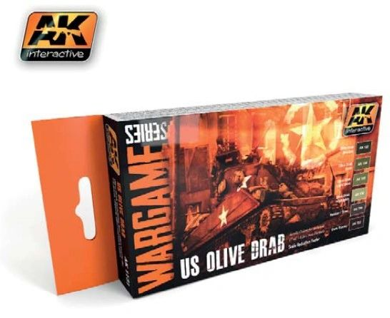 Wargame Series: US Olive Drab Acrylic Paint Set (6 Colors) 17ml Bottles - AK Interactive 1131
