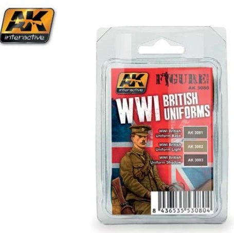 Figure Series: WWI British Uniforms Acrylic Paint Set (3 Colors) 17ml Bottles - AK Interactive 3080