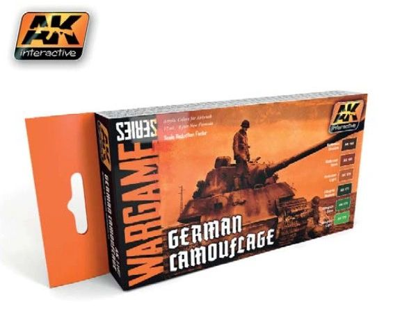 Wargame Series: German Camouflage Acrylic Paint Set (6 Colors) 17ml Bottles - AK Interactive 1167