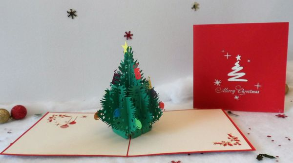 large decorated christmas tree 3d pop up card