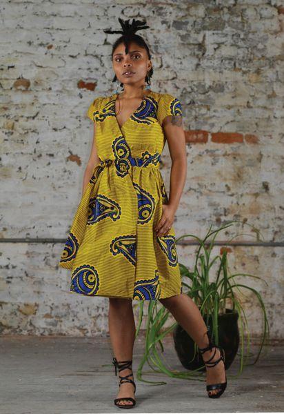 Golden Desert Wrap Dress