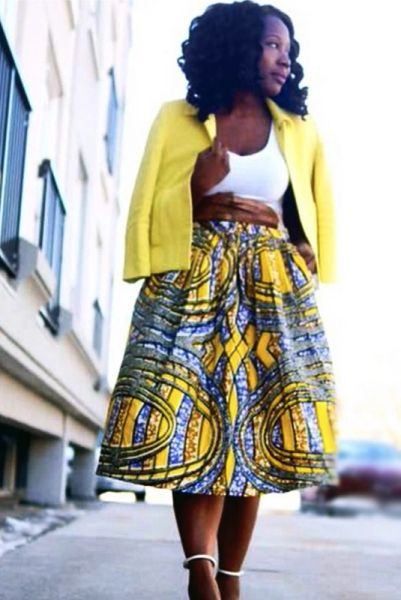 Purple Yellow Swirl Midi Skirt