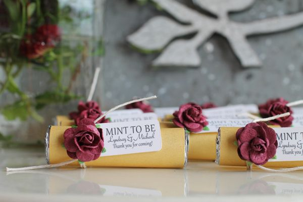 gold and burgundy anniversary party favors great for wedding and bridal showers decorated mint favors