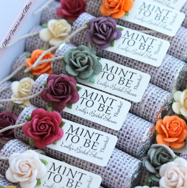 bridal shower favors with fall mix roses with a burlap theme