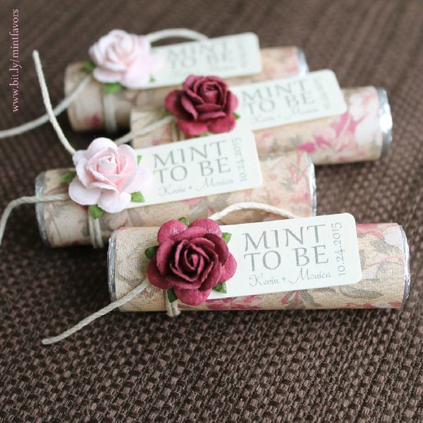 Personalized Wedding Favors, Floral Wedding Favors, Mint