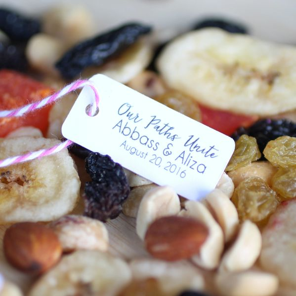 Personalized tags used for wedding favors, diy trail mix tags ...