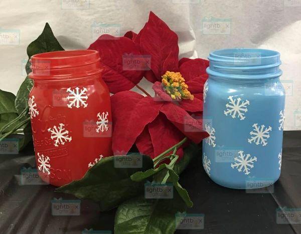 Snowflake Mason Jars set of 2