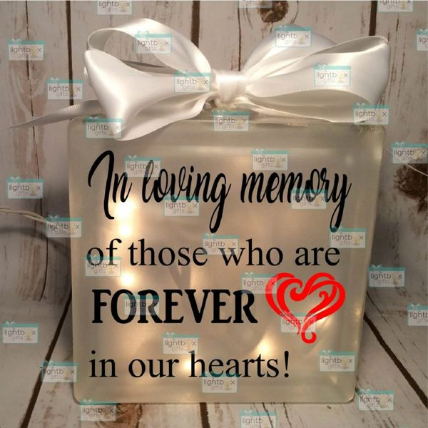 In Loving Memory of those who are forever in our hearts glass block with lights wedding memorial decor sign table centerpiece