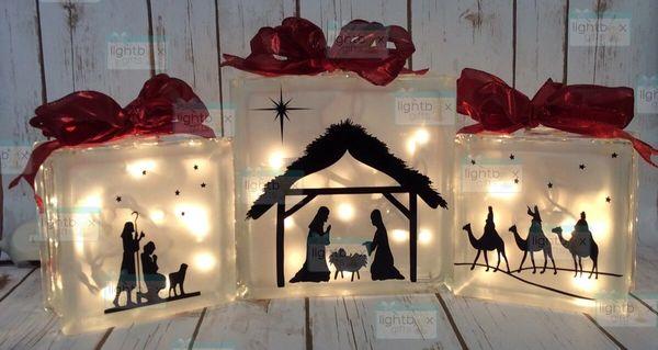 Nativity set of 3 LightBoxes