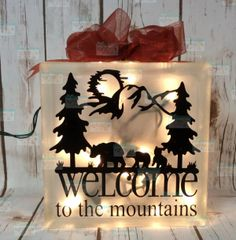 Welcome to the mountains bear and cubs LightBox