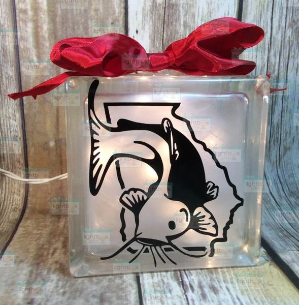 Catfish with your state etched glass LightBox