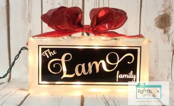 Custom Family Name 8×4 etched glass LightBox