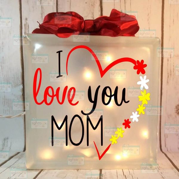 I love you Mom etched glass LightBox