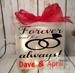 Forever and for always! etched glass LightBox
