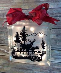 Deer in mountain stream etched glass LightBox