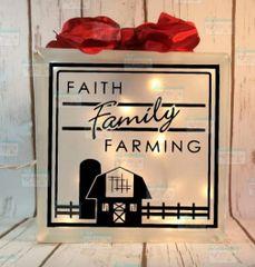 Faith Family Farming etched glass LightBox
