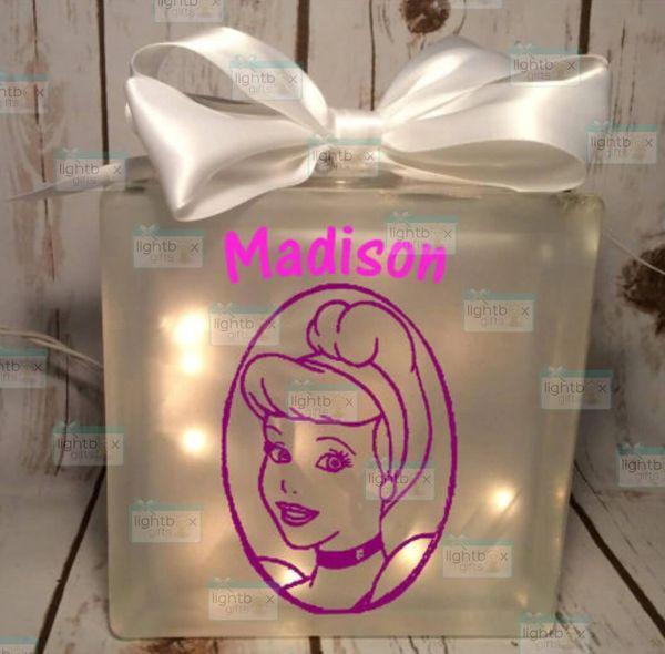 Cinderella Princess personalized etched glass LightBox nightlight