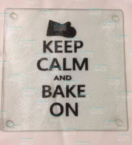 Keep calm and Bake on cutting board with oven mitt design