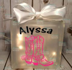 Cowgirl boots personalized LightBox nightlight