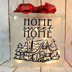 Home Sweet Home cabin etched glass lightbox