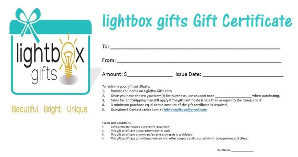 Gift Certificate $10, $25, $30 $50, $75, $100