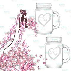 Etched heart Mason Jar, Personalized Mason Jars, Anniversary Gift, Mr and Mrs Glasses, Engraved Mason Jar