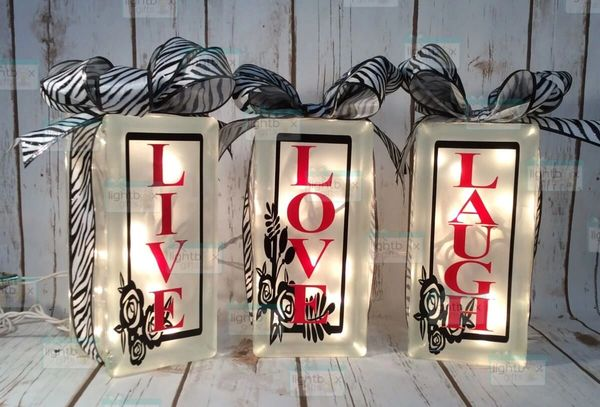 Live Love Laugh set of 3 LightBoxes