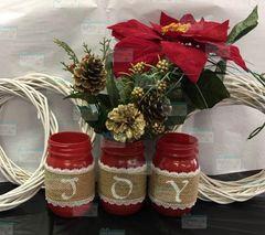 Joy Mason Jars set of 3 Red with burlap and lace
