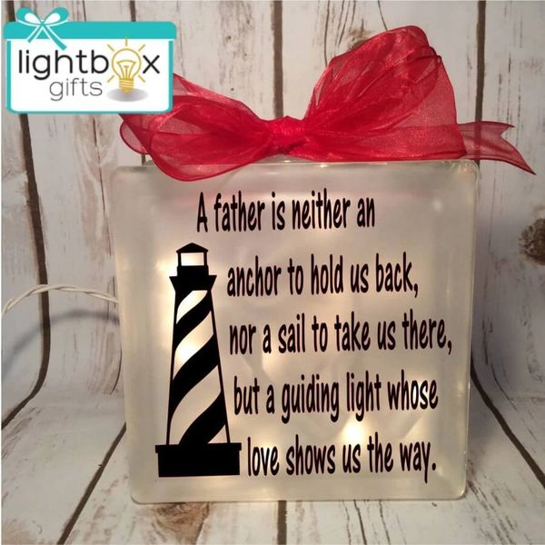A father is neither an anchor to hold us back, nor a sail to take us there, but a guiding light whose love shows us the way etched glass box