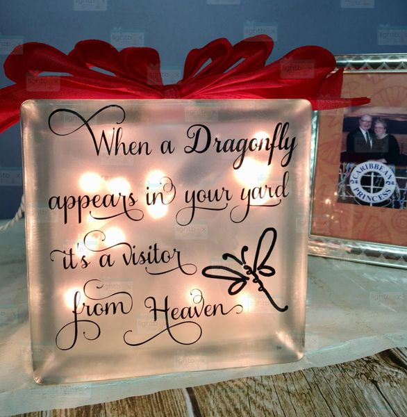 When a Dragonfly appears etched glass LightBox