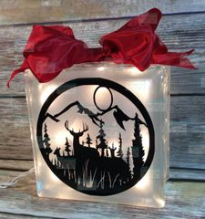 Deer in Mountain field etched glass LightBox