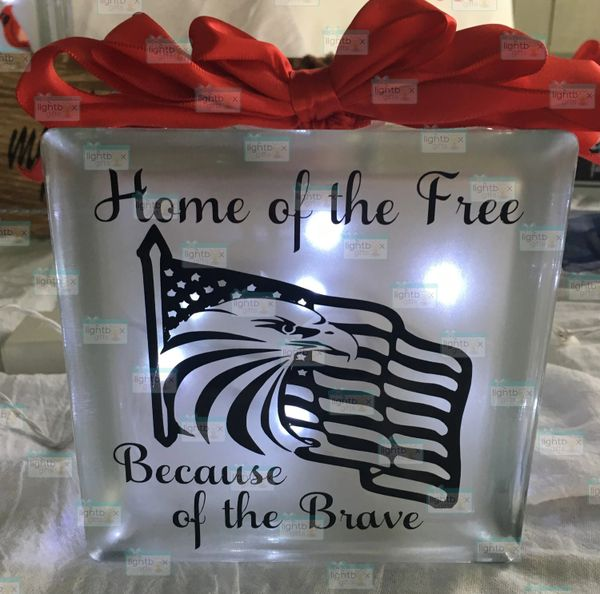 Home of the Free Because of the Brave etched glass LightBox