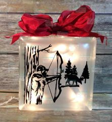 Bow hunter and buck etched glass LightBox