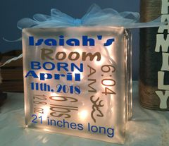 Birth announcement personalized and customized etch glass block
