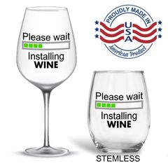 Please wait Installing Wine Wineglass, Birthday Anniversary present for her, gift for her him custom personalized Mother's Day Father's Day