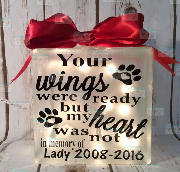 Your wings were ready but my heart was not pet memorial paws with heart LightBox