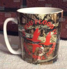 Camo cup, coffee cup, bird hunting design, personalized with your NAME, ceramic coffee mug, dog, if you flood it they will come