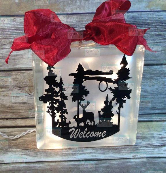 Deer in night time field Welcome etched glass LightBox