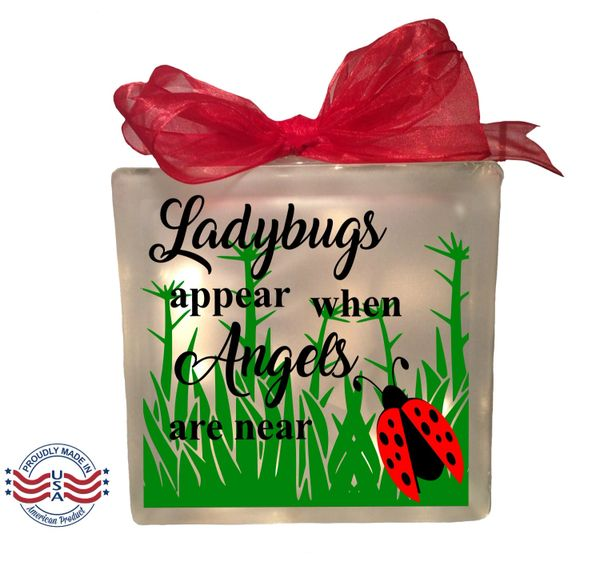 Ladybugs appear when Angels are near etched Glass block, memorial home decor memory blocks birthday anniversary, ladybug lady bug