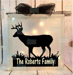 Buck walking family name personalized etched glass LightBox