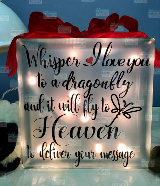 Whisper I love you to a dragonfly etched glass LightBox