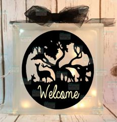 Deer Welcome etched glass LightBox