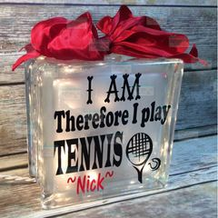 I am Therefore I play Tennis personalized etched glass block