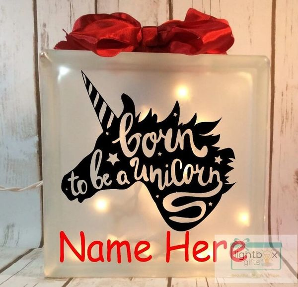 Born to be a Unicorn personalized etched glass LightBox