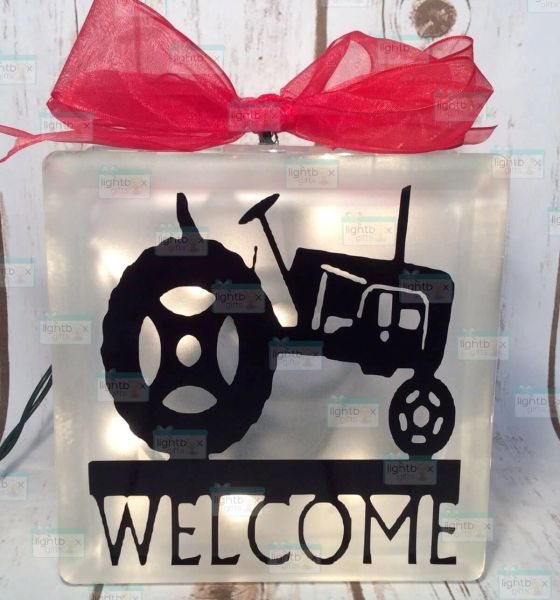 Welcome featuring a tractor LightBox