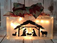 Nativity etched glass LightBox