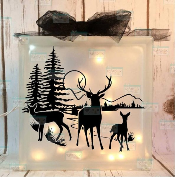 Deer in field with moon etched glass LightBox