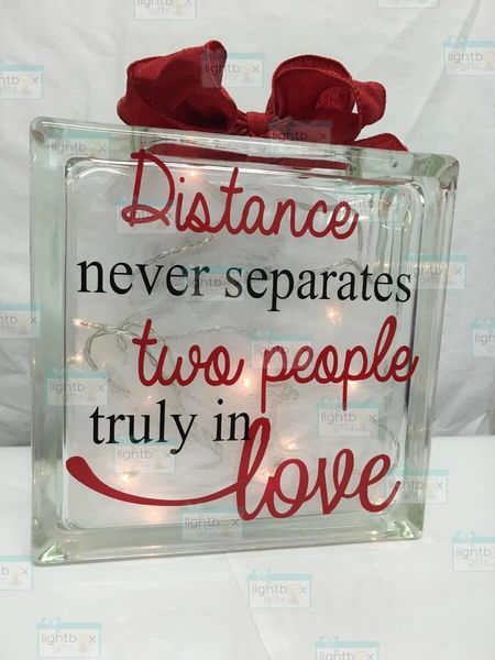 Distance never separates two people truly in love etched glass LightBox
