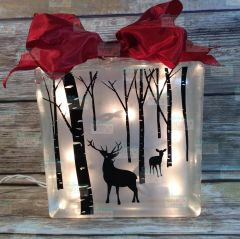 White Christmas lighted glass block, deer country hunting, fishing, rustic gift for man son father hunter sportsman birthday anniversary