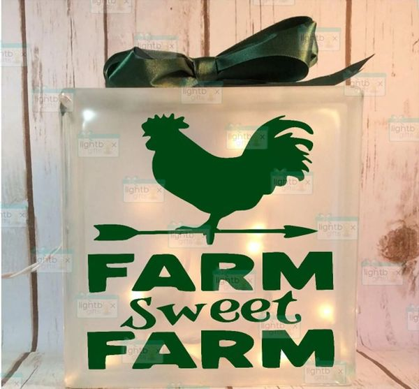 Farm Sweet Farm Rooster etched glass LightBox